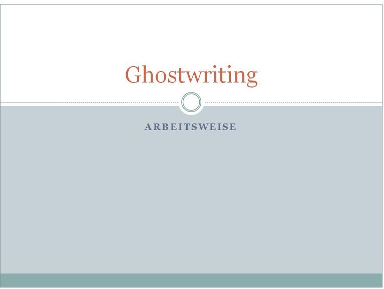 Ghostwriting Arbeitsweise